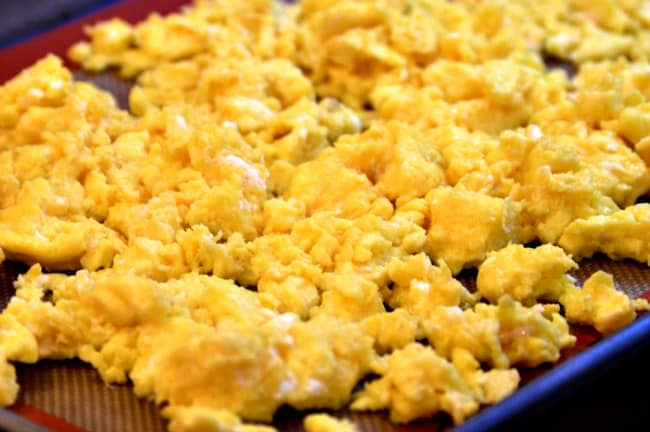 Breakfast Bowls Recipe - Transfer scrambled eggs to lined cookie sheet