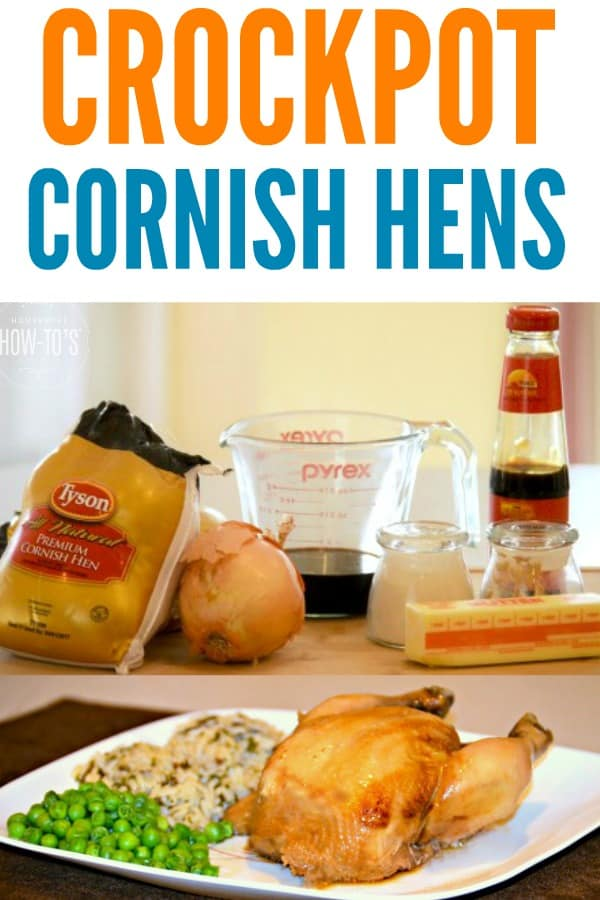 Crockpot Cornish Hens Recipe - Shake together a few ingredients and pop these in the slow cooker. Yummy! #crockpot #slowcooker #cornishhens #easydinnerrecipe #chicken