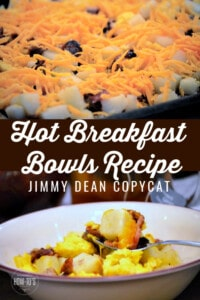Hot Breakfast Bowls Recipe Jimmy Dean Copycat text imposed over tray of frozen potatoes with bacon, sausage, and shredded cheddar cheese