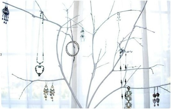 Branches turned into a jewelry holder to hang necklaces and earrings