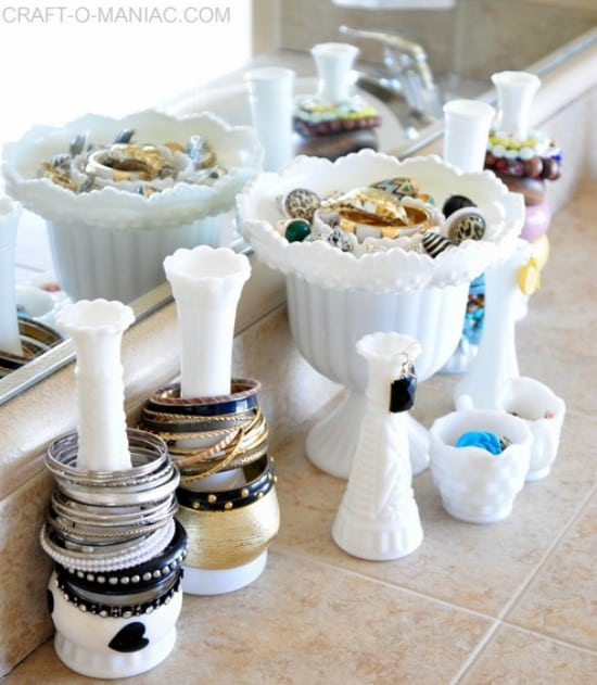 Milk Glass vases and a candy bowl used to organize jewelry
