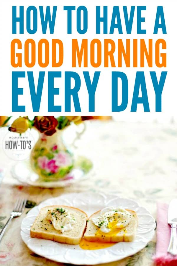 How to Have a Good Morning - Five tips that will turn you into a morning person! #mornings #morningperson #productivity #lifeskills #starttheday #morningroutine #lifehack #housewifehowtos #adulting #wakeup