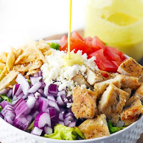 Honey Mustard Chicken Chopped Salad from Creme de la Crumb
