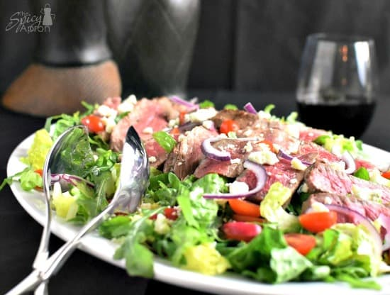10 Salad Recipes Perfect for Summer - Steak Salad with Blue Cheese Crumbles from The Spicy Apron