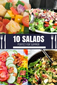 10 Salads Perfect for Summer - I am so tired of boring salads! These recipes are all so easy and delicious. #salad #saladrecipe #healthy #vegetables #easyrecipe