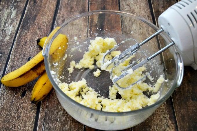 Banana Bundt Cake with Caramel Sauce - Blend butter and sugar together