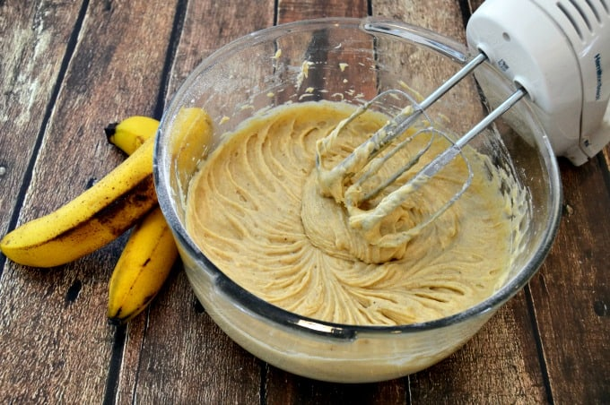 Banana Bundt Cake with Caramel Sauce - Blend dry ingredients into wet until silky