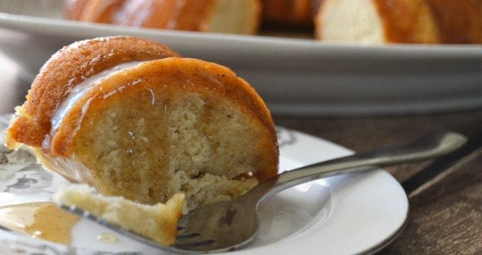Banana Bundt Cake with Caramel Sauce