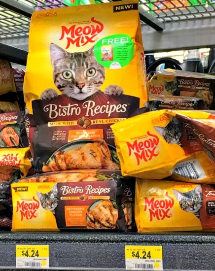 Find New Meow Mix Bistro at Walmart in the pet food aisle
