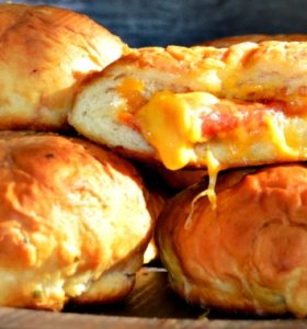 Pizza Stuffed Pretzel Buns - A convenient after-school snack