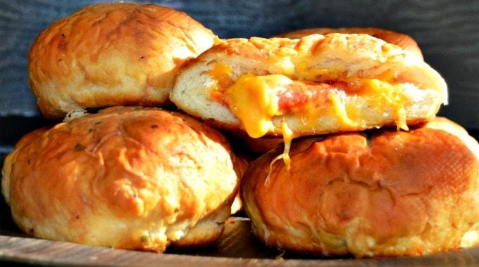 Pizza Stuffed Pretzel Buns - A convenient after-school snack