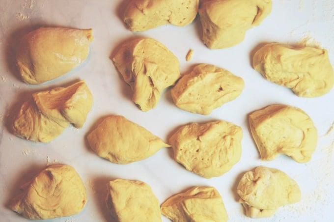 Pizza Stuffed Pretzel Buns - Cut the loaf into 12 pieces