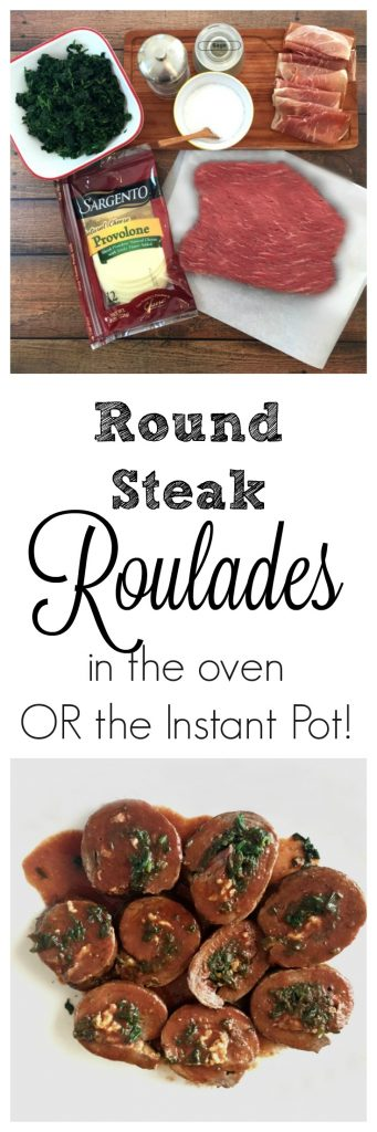 Round Steak Roulades Recipe for the oven or Instant Pot! #beef #cheese #spinach #instantpot #pressurecooker #easydinnerrecipe