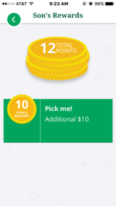 ChorePal from Country Financial tracks dollars earned as well as points
