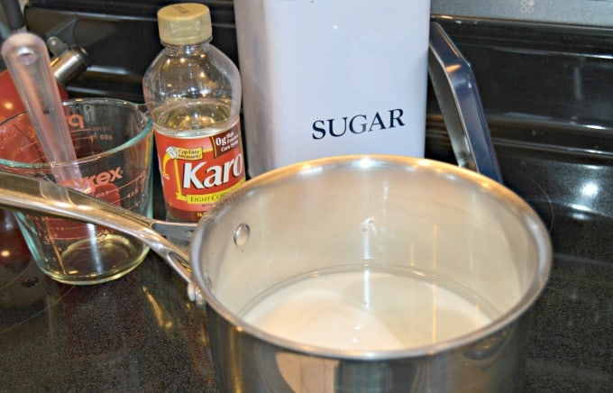Holiday Hard Candy Recipe - Combine ingredients in saucepan