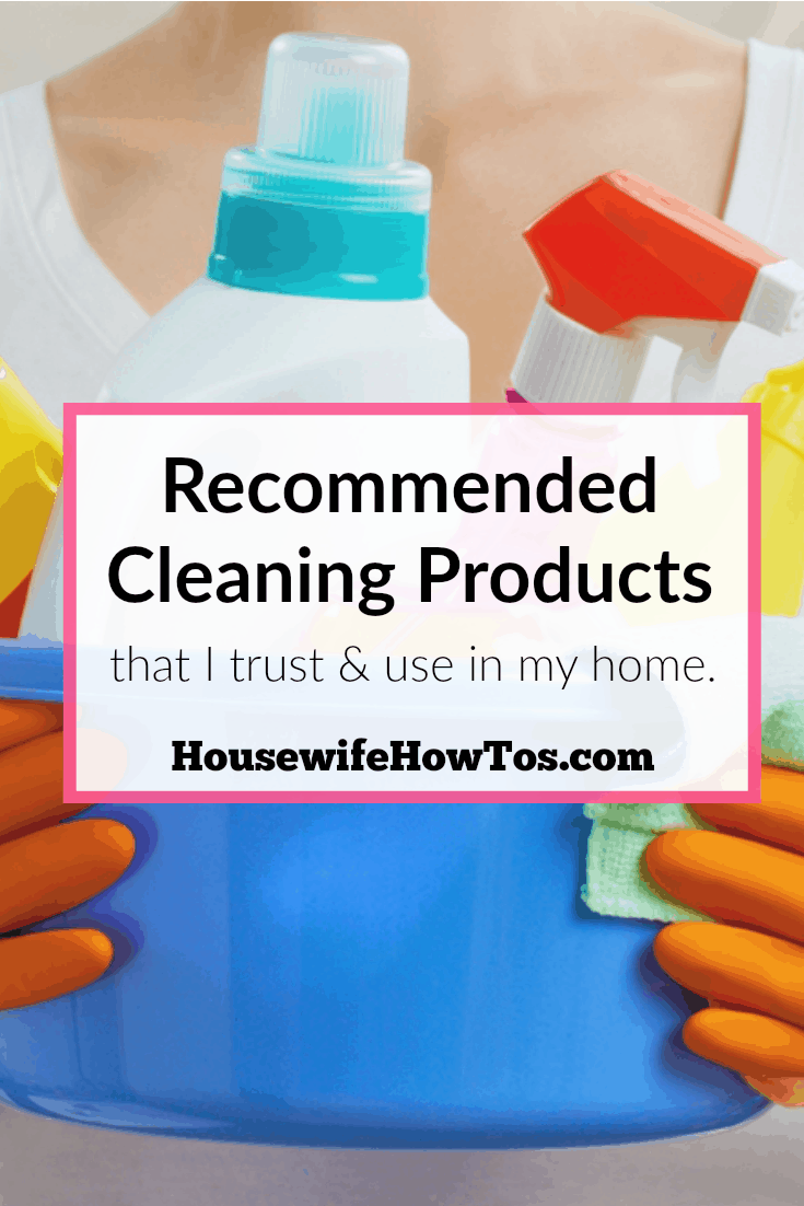 Ever wonder what a clean freak uses to clean? I don't like wasting time or money and you probably don't, either. Here are the products I trust and use in my home to clean, organize, do laundry, cook & more. via Katie B @HousewifeHowTos