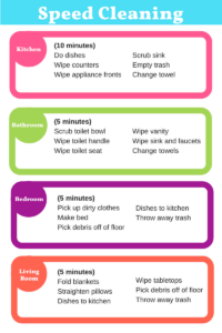 Speed Cleaning Checklist - When you want your home to look clean but don't have time to actually clean it