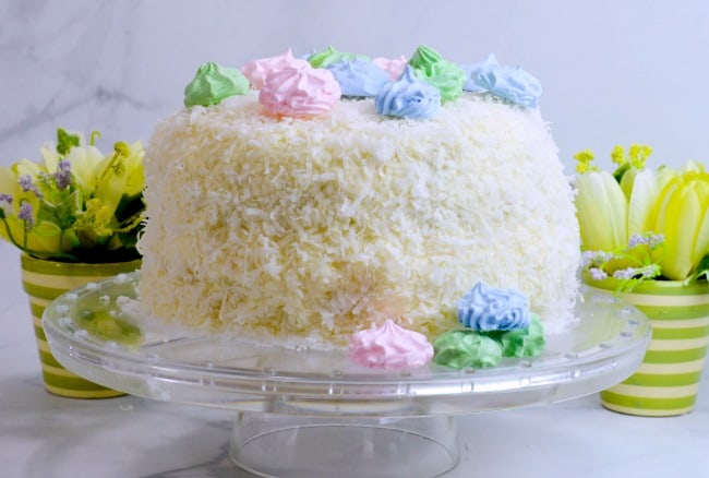 Coconut Cake Recipe topped with Meringue Cookies - A beautiful Easter Spring cake