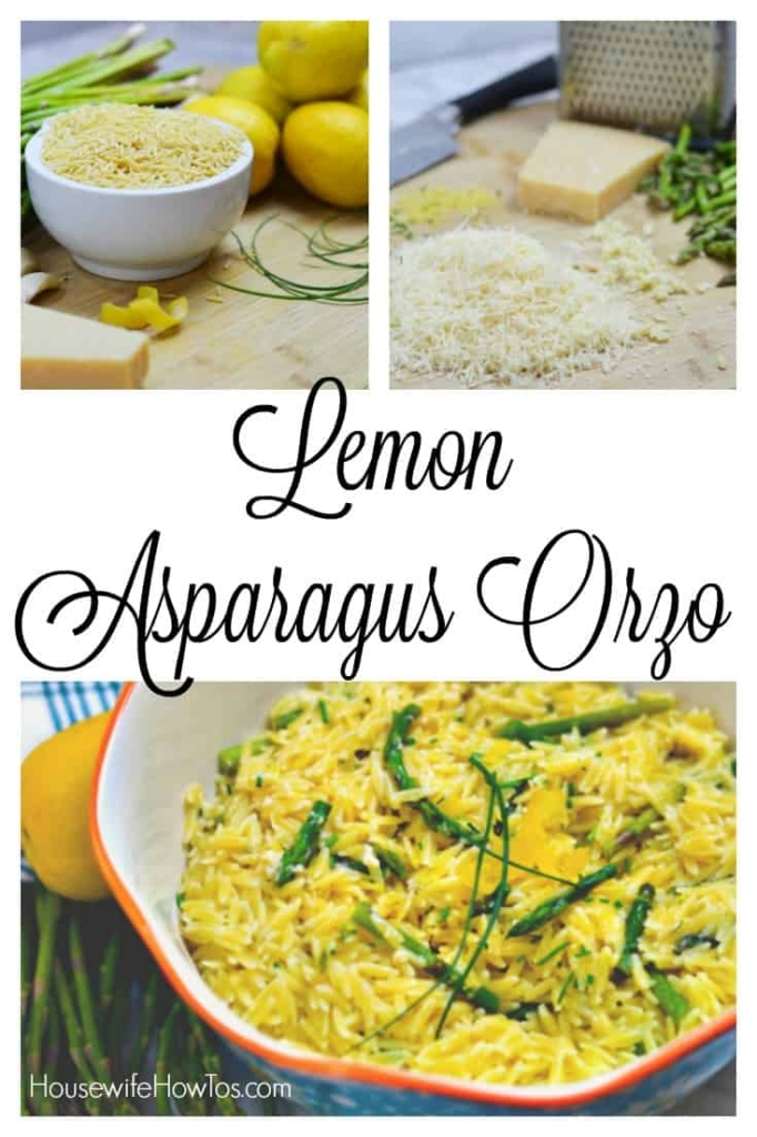 Lemon Asparagus Orzo - An easy Spring side dish featuring the sunny flavors of bright lemon and fresh asparagus balanced with nutty Parmesan cheese and tender orzo. #sidedish #asparagus #orzo #pasta #lemon