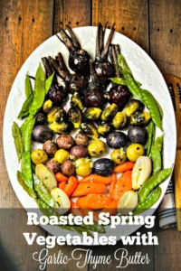 This colorful Roasted Spring Vegetables Recipe is one of my favorite ways to feature the flavors of Spring. It's a healthy accompaniment to any dinner and regularly makes an appearance on our Easter table, too.