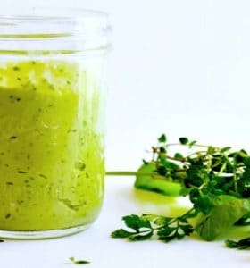 Creamy Avocado Garlic Herb Dressing
