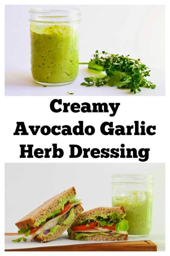 Creamy Avocado Garlic Herb Dressing - Perfect for salads or on sandwiches...even as a dip! Paleo, dairy-free, low-carb. It's perfect.