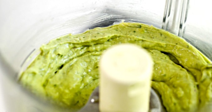Creamy Avocado Garlic Herb Dressing - Toss everything in the food processor and blend