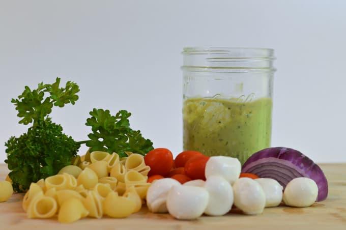 Creamy No-Mayo Pasta Salad Uses Simple ingredients
