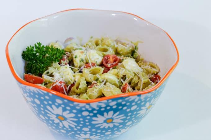 Creamy No-Mayo Pasta Salad - Serve chilled or room temperature