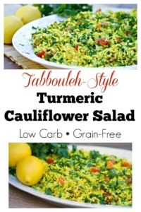 Tabbouleh-Style Turmeric Cauliflower Salad - Fresh ingredients in a low carb and grain free salad that is perfect for summer and SO easy to make