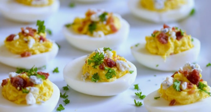Bacon Blue Cheese Deviled Eggs combine big flavors in a little bite