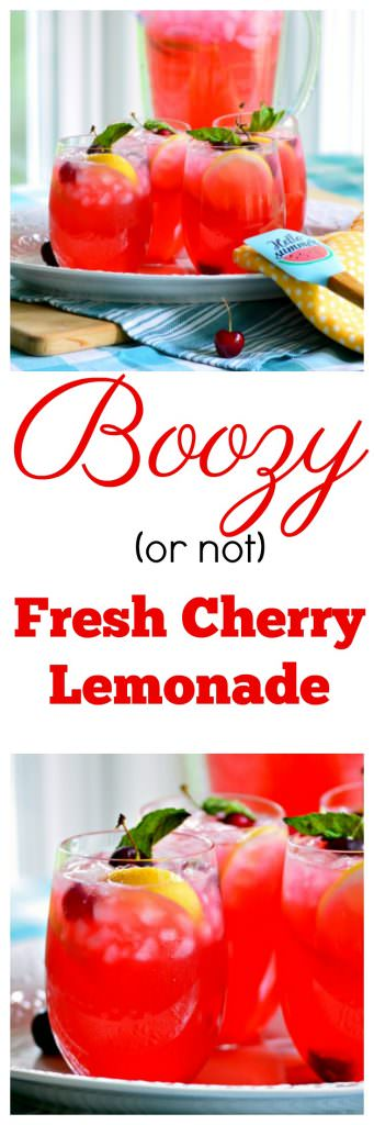 Boozy Fresh Cherry Lemonade is the perfect adult beverage for hot summer afternoons but you can make it without liquor if you want to share it with the kids.