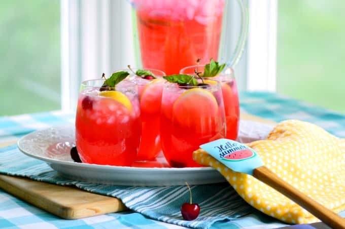Boozy Fresh Cherry Lemonade - a perfect adult drink for hot summer nights