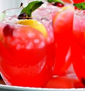 Fresh Cherry Lemonade with or without liquor is the perfect drink for hot summer days