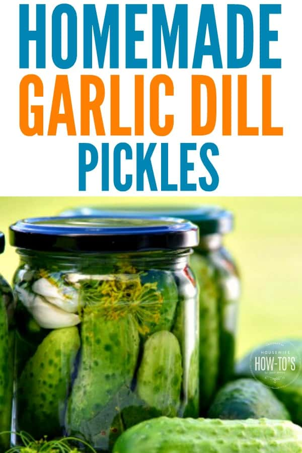 Homemade Garlic Dill Pickles - Turn those fresh garden cucumbers into crunchy pickles with this easy recipe for canning or refrigerator pickles. #pickles #garlicpickles #dillpickles #canning #refrigeratorpickle #cucumbers