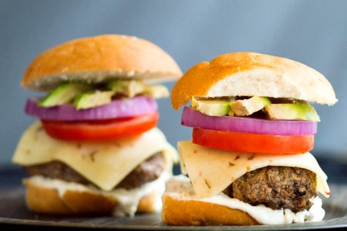 Baja Sliders with Green Chile Mayo Pile on the toppings and enjoy