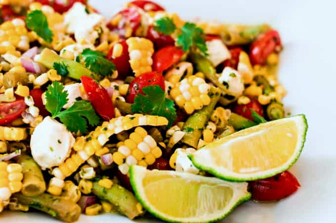 Fresh Corn and Tomato Salad with Cilantro Lime Dressing