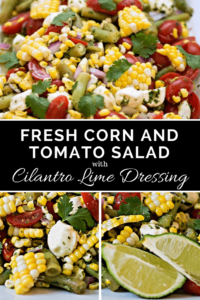 Fresh Corn and Tomato Salad with Cilantro Lime Dressing | This is a crowd pleaser thanks to all of the bright summery flavors and creamy bites of fresh mozzarella coated with cilantro lime dressing - This is so easy and every bite is filled with flavor! #salad #potluck #picnic #corn #tomato #cilantro #vegetarian
