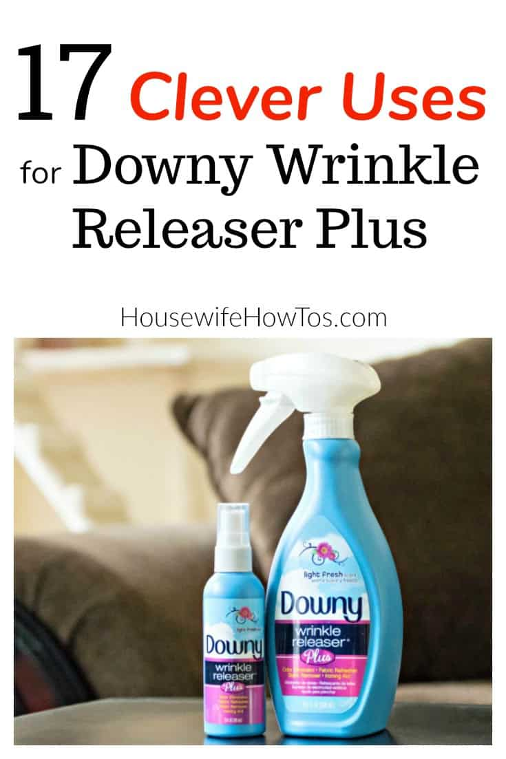 Clever Uses for Downy Wrinkle Releaser Plus This does so much more than get wrinkles out of your clothes. Find out how to use it throughout your home and on the go. #sponsored