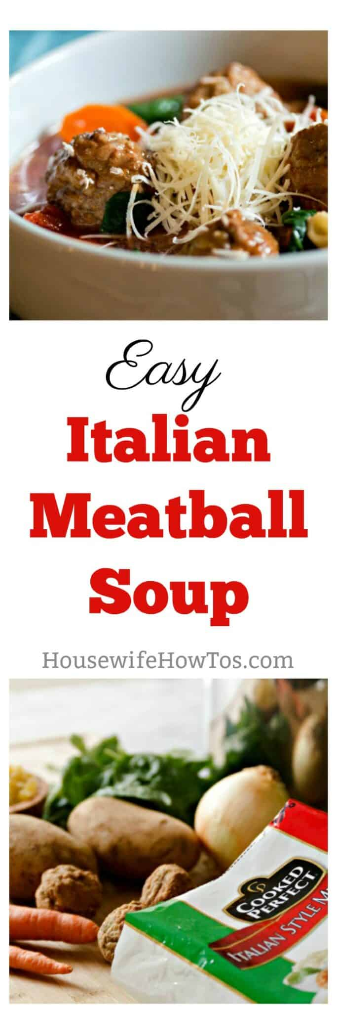 Easy Italian Meatball Soup A hearty serving of vegetables and tender meatballs in a rich tomato broth that is easy enough for weeknights #sponsored