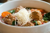 Easy Italian Meatball Soup recipe served in a bowl