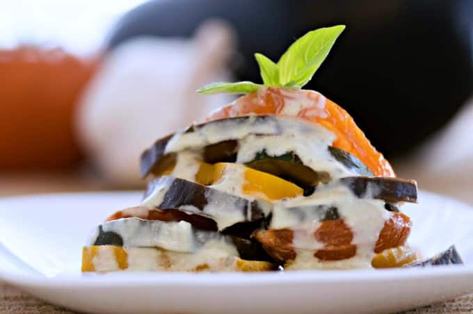 Garden Ratatouille with Fresh Basil Cream Recipe - Drizzle servings with the remaining sauce