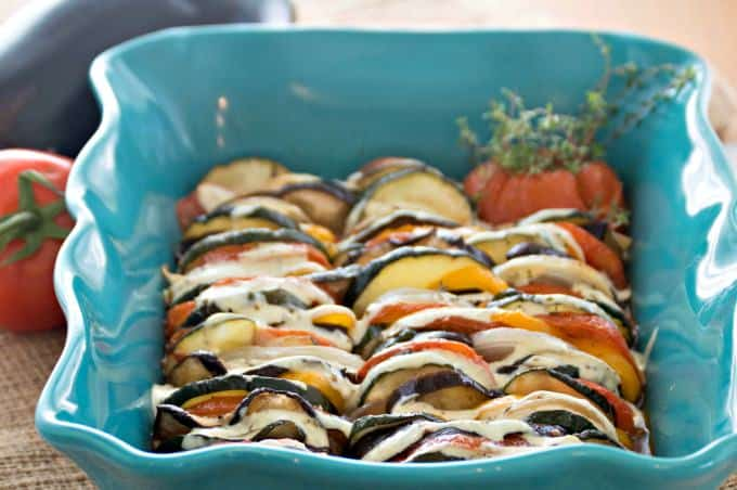 Ratatouille Topped with Fresh Basil Cream Recipe - If you run out of vegetables you can add an herb-stuffed tomato or pepper