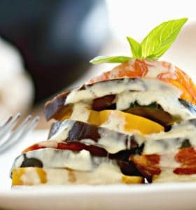 Garden Ratatouille with Fresh Basil Cream Sauce - Serve as a side dish or add a loaf of bread and make it a Meatless Monday meal