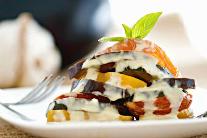 Ratatouille Topped with Fresh Basil Cream Sauce - Serve as a side dish or add a loaf of bread and make it a Meatless Monday meal