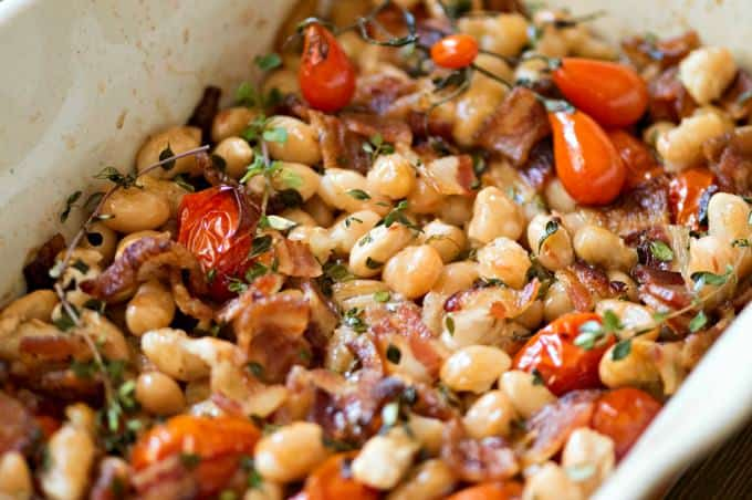 Smoky Bacon and Bean Casserole - A hearty and fresh-tasting take on baked beans