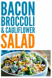 """Bacon Broccoli and Cauliflower Salad is one my kid said is a """"keeper!"""" It lasts for days in the fridge, too. #salad #broccoli #cauliflower #bacon #vegetables #easyrecipe #potluck #sidedish"""