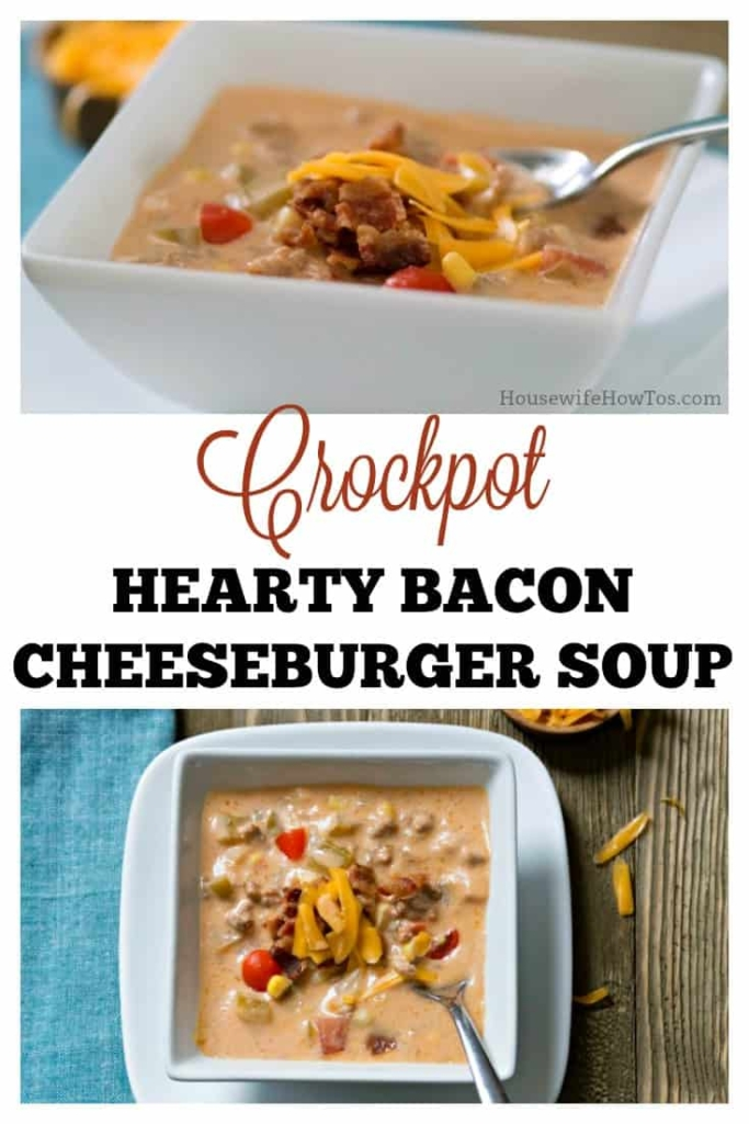 Crockpot Hearty Bacon Cheeseburger Soup | This easy soup is perfect for Game Day Dinners