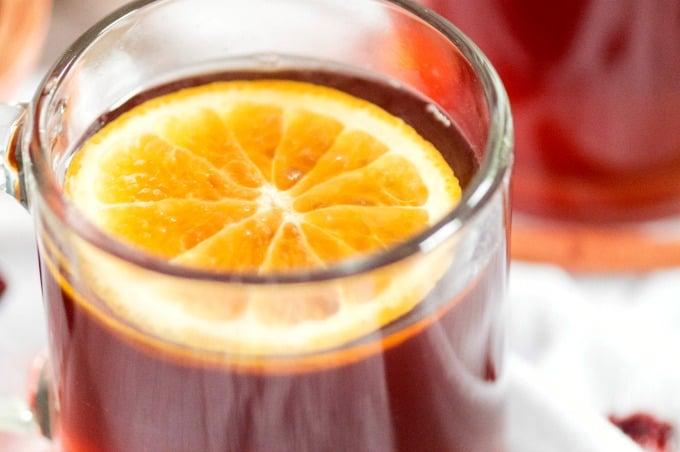 Crockpot Cranberry Citrus Cinnamon Tea Recipe - Soothes sore throats and comforts colds