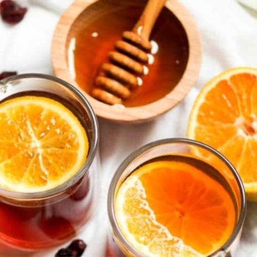 Overhead view of Cups of Crockpot Cranberry Orange Cinnamon tea